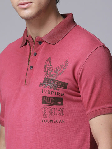 Men Red Solid Polo Collar T-shirt