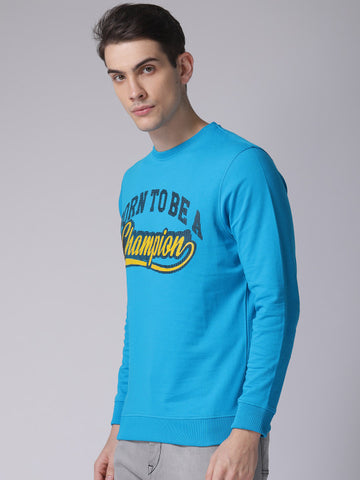Men Blue Printed Sweatshirt