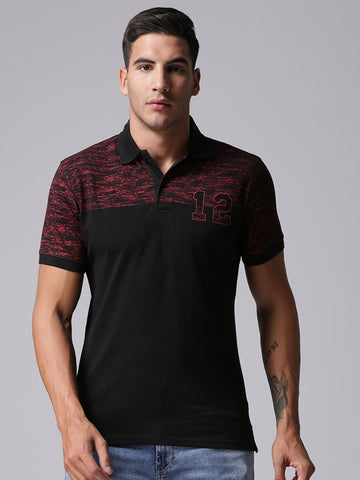 Men Black Solid Polo Collar T-shirt