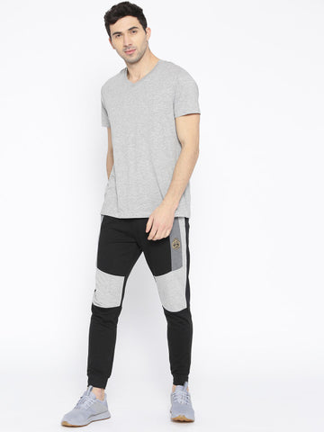 Men Black and Grey Melange Colourblocked Joggers
