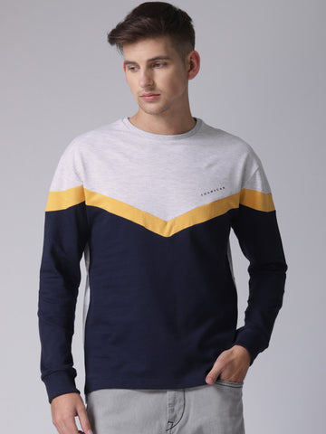 Men Navy Blue & Grey Colourblocked Sweatshirt