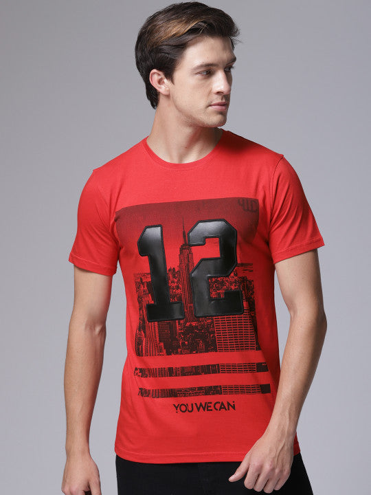 c660fe10f Men Red Printed Round Neck T-shirt – ywcofficial