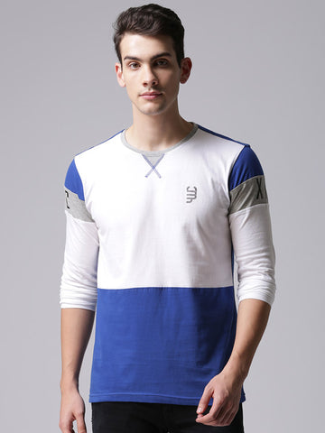 Men White Colourblocked Round Neck T-shirt