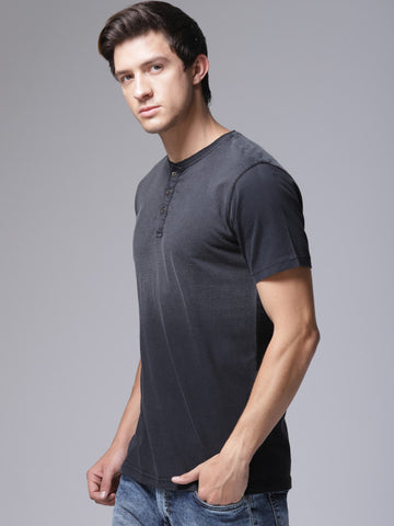 Men Black Solid Henley Neck T-shirt