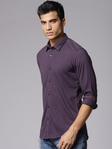 Men Purple Regular Fit Solid Casual Shirt