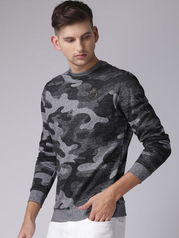 Men Black & Grey Self Design Sweatshirt