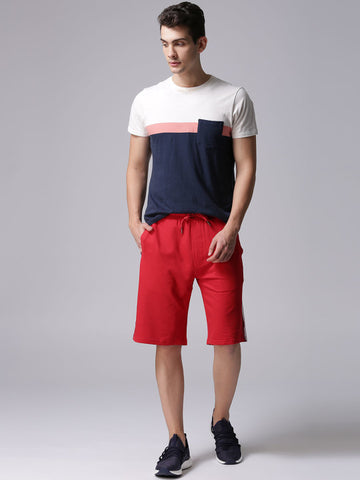 Men Red Solid Regular Fit Shorts