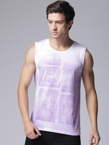Men Purple & White Printed Round Neck T-shirt