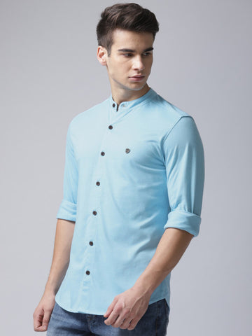 Men Blue Regular Fit Solid Casual Shirt