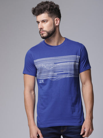 Men Blue Striped Round Neck T-shirt