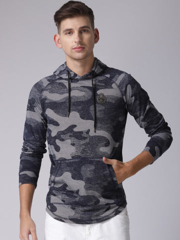 Men Navy Blue & Grey Self Design Hooded Sweatshirt