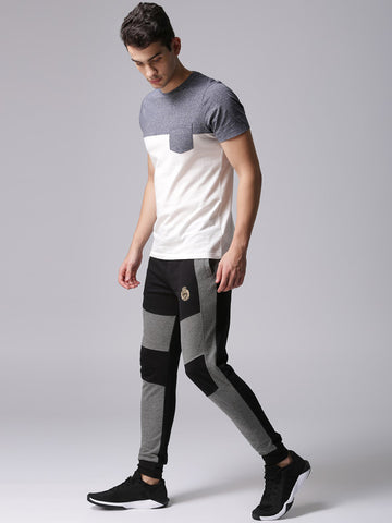 Men Black & Grey Colourblocked Joggers