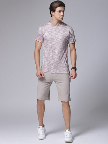 Men Beige Solid Slim Fit Regular Shorts