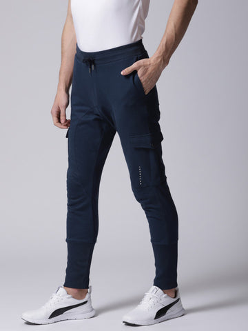 Men Navy Blue Solid Joggers