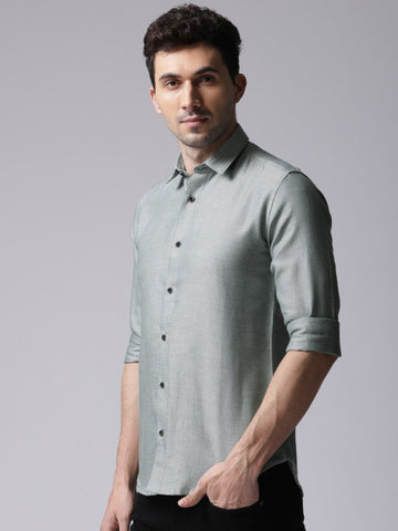 Men Green Classic Slim Fit Self Design Casual Shirt