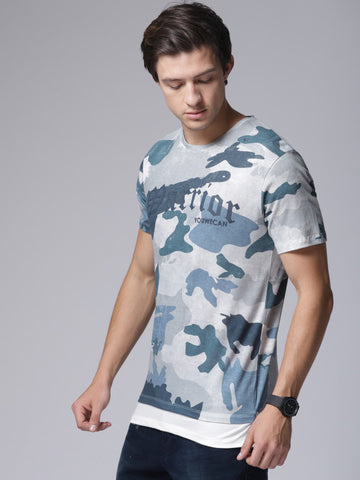 Men Grey Printed Round Neck T-shirt