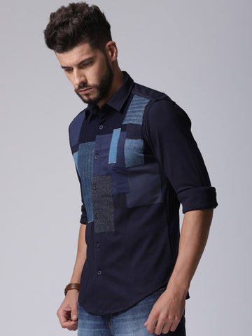 Men Navy Blue Standard Regular Fit Self Design Casual Shirt