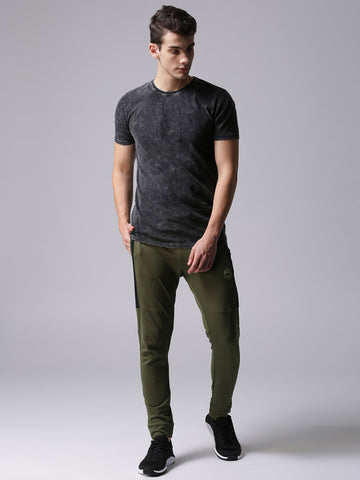 Men Olive Green Solid Joggers
