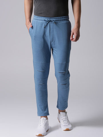 Men Blue Solid Track Pants