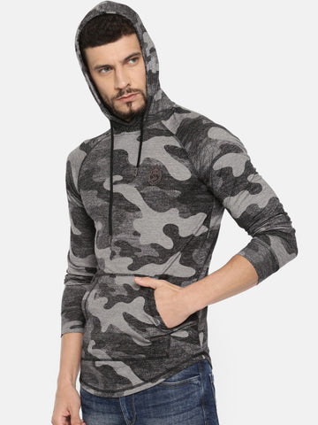 Men Black & Grey Self Design Hooded Sweatshirt