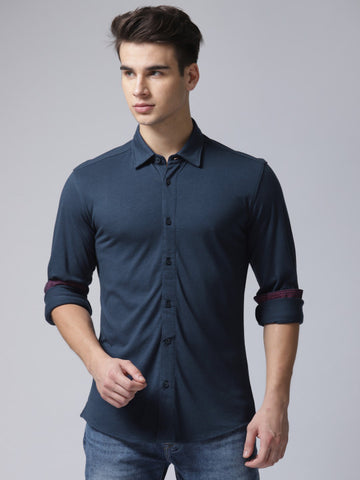 Men Navy Blue Regular Fit Solid Casual Shirt