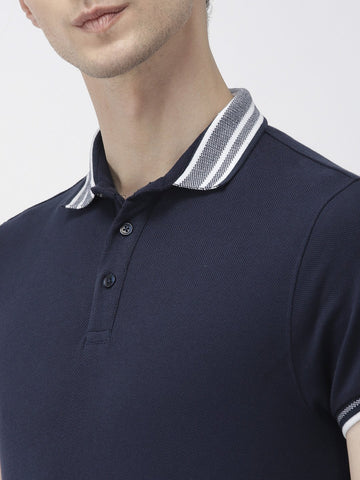 Navy Green Solid Polo