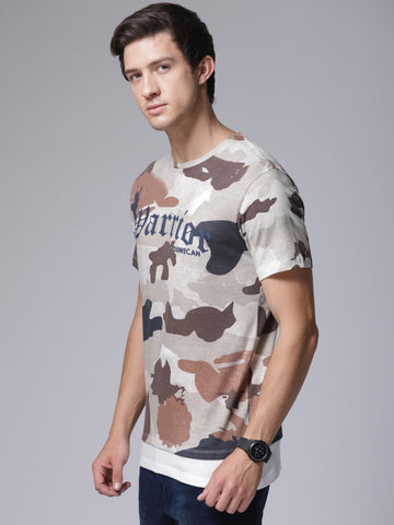 Men Khaki Printed Round Neck T-shirt