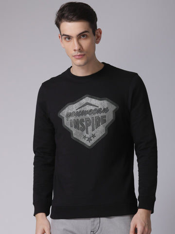 Men Black Printed Sweatshirt