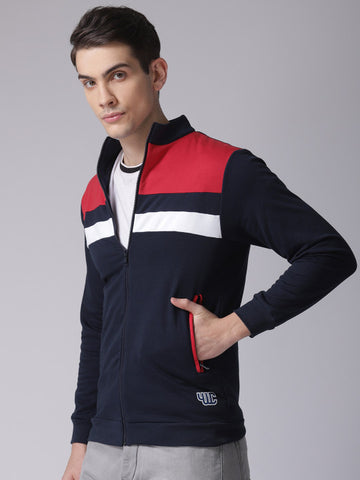 Men Navy Blue & Red Colourblocked Sweatshirt