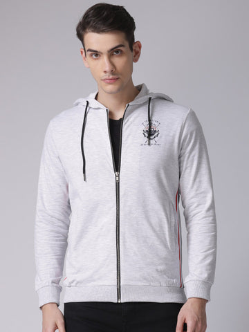 Men Grey Melange Solid Hooded Sweatshirt