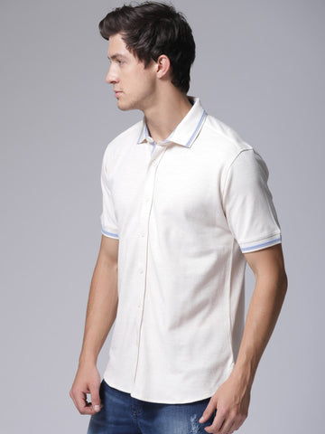 Men Beige Solid Polo Collar T-shirt