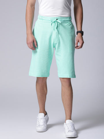 Men Sea Green Solid Regular Fit Regular Shorts