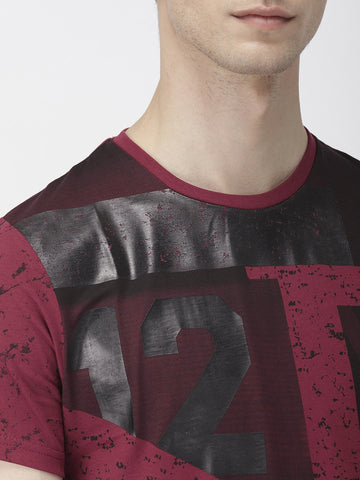 Maroon All Over Print T-Shirts
