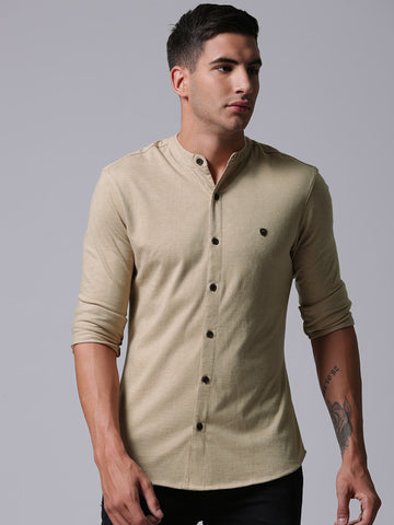 Men Beige Regular Fit Solid Casual Shirt