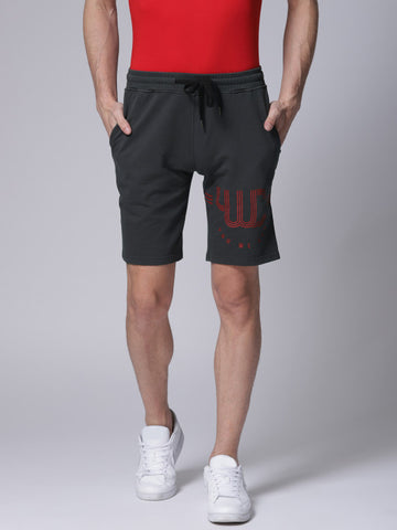 Men Grey Solid Slim Fit Sports Shorts