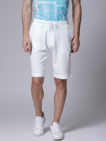 Men White Solid Regular Fit Regular Shorts