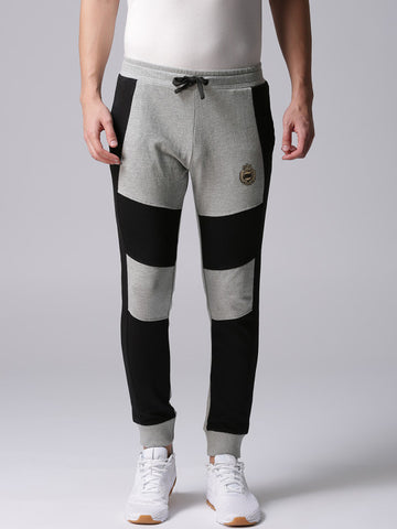 Men Grey Melange & Black Colourblocked Joggers