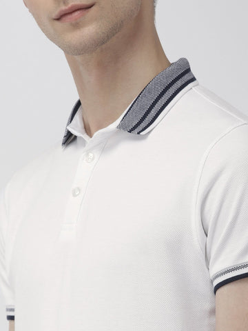 White Green Solid Polo
