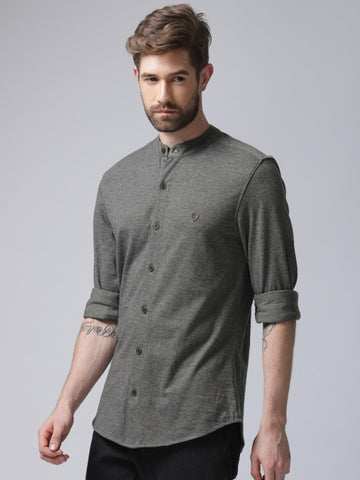 Men Charcoal Grey Regular Fit Solid Casual Shirt