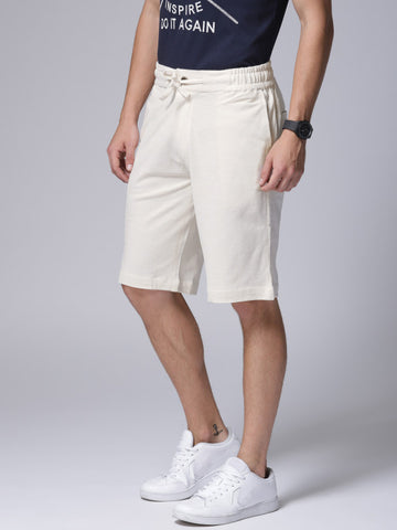 Men Off-White Solid Regular Fit Regular Shorts