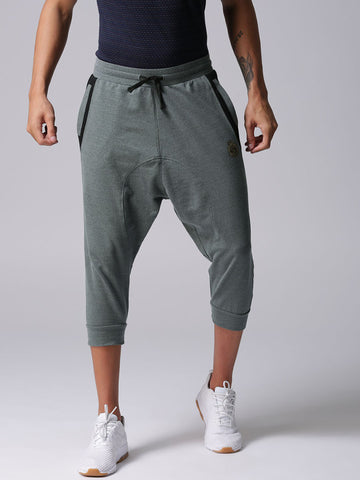 Men Grey Solid 3/4th Joggers