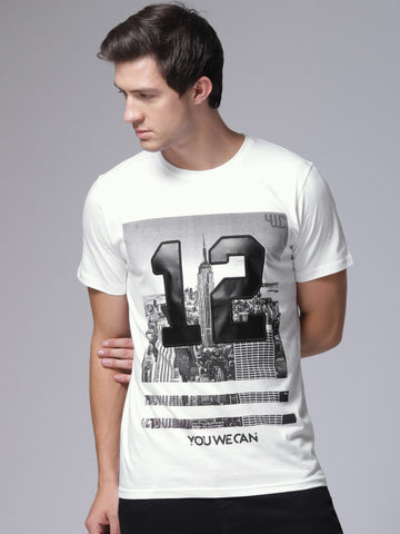 Men White Printed Round Neck T-shirt