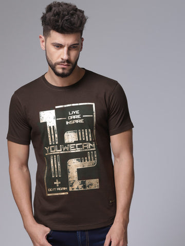 Men Brown Printed Round Neck T-shirt