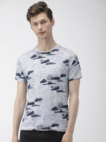 Grey All Over Print T-Shirts