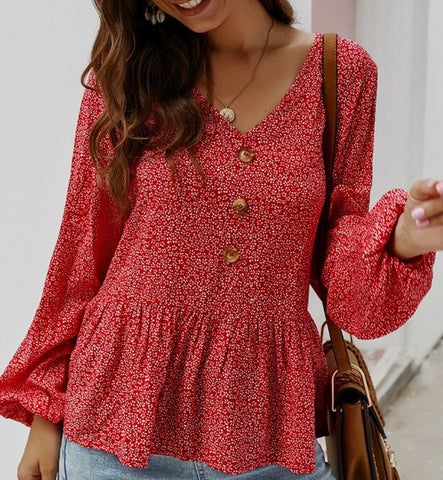 Floral Top with Button Detail