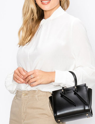 Pleated Front High Neck Blouse