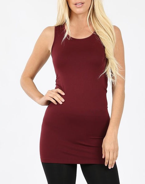 Scoop Neck LONG Tank Top (Black, Burgandy, White)