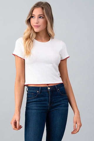 Cropped Picot Edge Top