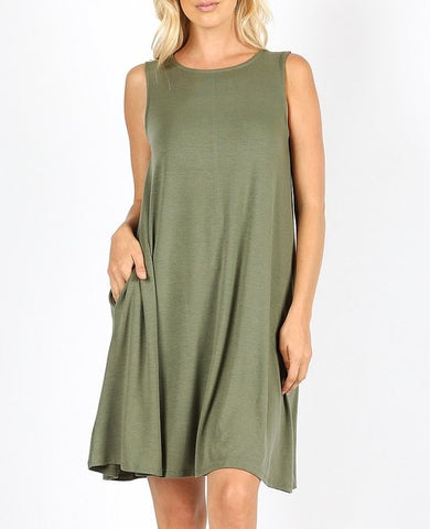 Sleeveless Flared Dress (Olive and Saphire)