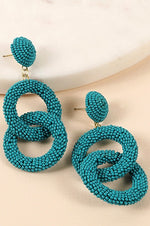 Load image into Gallery viewer, Statement Rings of Beads Earrings (Teal)